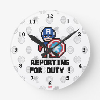 8Bit Captain America - Reporting For Duty! Round Clock