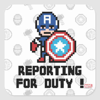 8Bit Captain America - Reporting For Duty! Square Sticker
