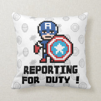 8Bit Captain America - Reporting For Duty! Throw Pillow