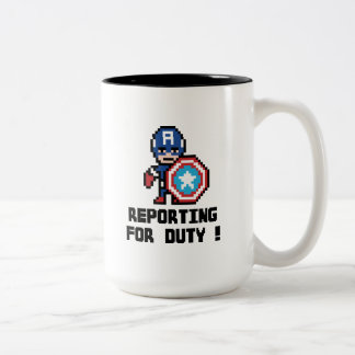 8Bit Captain America - Reporting For Duty! Two-Tone Coffee Mug