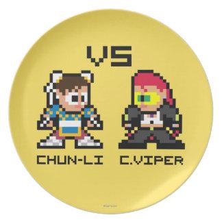 8bit Chun-Li CONTRA C.Viper Platos De Comidas