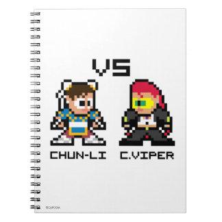 8bit Chun-Li VS C.Viper Spiral Note Book