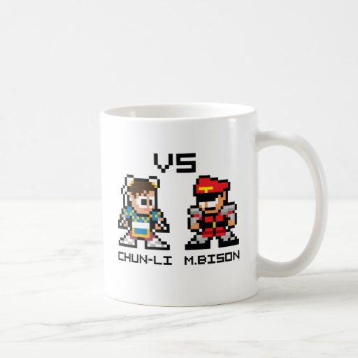 8bit Chun-Li VS M.Bison Classic White Coffee Mug