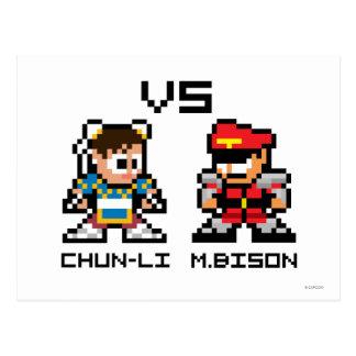 8bit Chun-Li VS M.Bison Postcard
