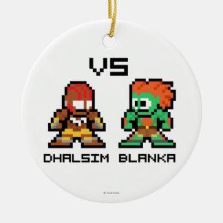 8bit Dhalsim VS Blanka Double-Sided Ceramic Round Christmas Ornament