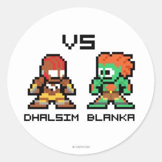 8bit Dhalsim VS Blanka Round Sticker