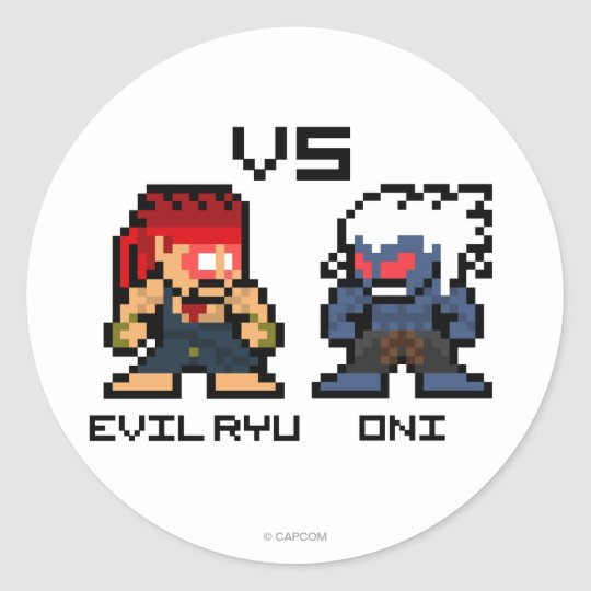 8bit Evil Ryu VS Oni Classic Round Sticker