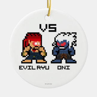8bit Evil Ryu VS Oni Double-Sided Ceramic Round Christmas Ornament