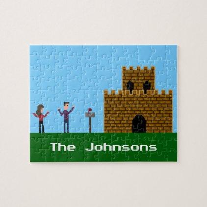 8Bit Geek Gamer Couple by a Castle Jigsaw Puzzle