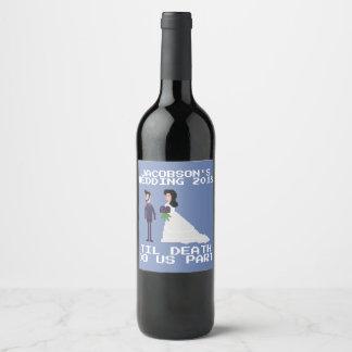 8bit Geek Gothic Til Death Do Us Part Wedding Wine Label