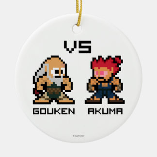 8bit Gouken VS Akuma Ceramic Ornament