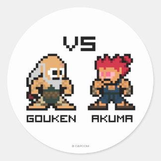 8bit Gouken VS Akuma Classic Round Sticker