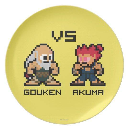 8bit Gouken VS Akuma Plate