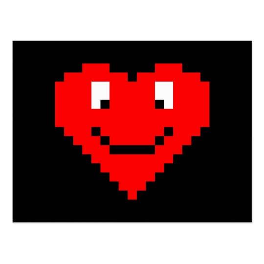 8bit Heart Face Postcard