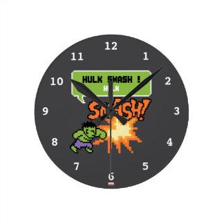 8Bit Hulk Attack - Hulk Smash! Round Clock
