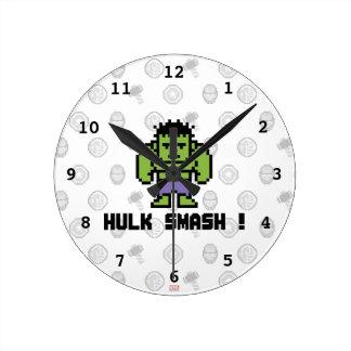 8Bit Hulk - Hulk Smash! Round Clock