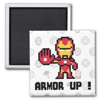 8Bit Iron Man - Armor Up! 2 Inch Square Magnet