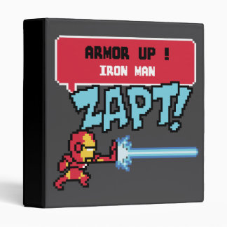 8Bit Iron Man Attack - Armor Up! 3 Ring Binder