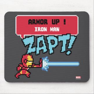 8Bit Iron Man Attack - Armor Up! Mouse Pad