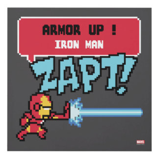 8Bit Iron Man Attack - Armor Up! Panel Wall Art