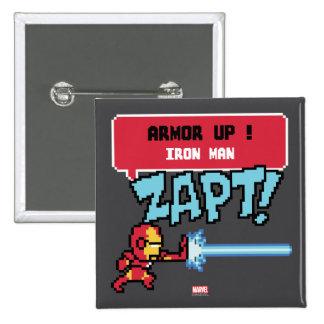 8Bit Iron Man Attack - Armor Up! Pinback Button