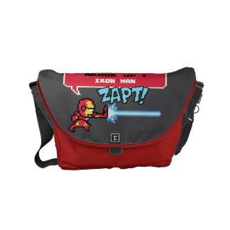 8Bit Iron Man Attack - Armor Up! Small Messenger Bag