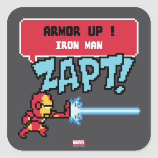 8Bit Iron Man Attack - Armor Up! Square Sticker