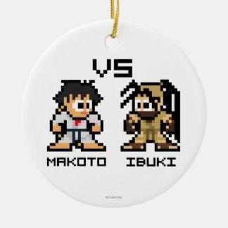 8bit Makoto VS Ibuki Double-Sided Ceramic Round Christmas Ornament