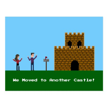 8bit Pixel Couple We Have Moved To Another Castle Postcard