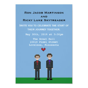 8bit Pixel Gay Gamer Groom & Groom Wedding Invite