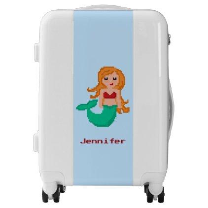 8Bit Pixel Geek Mermaid Custom Luggage