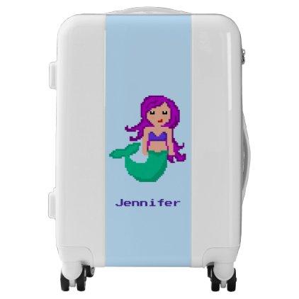 8Bit Pixel Geek Mermaid Custom with Purple Hair Luggage