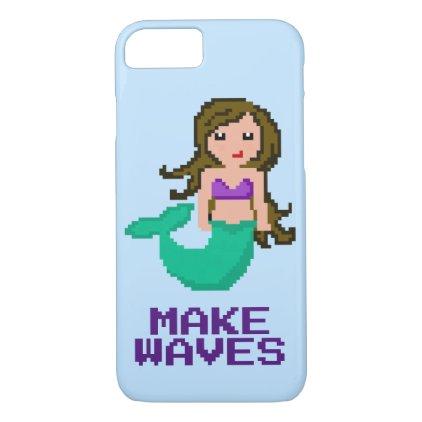 8Bit Pixel Geek Mermaid with Brown Hair iPhone 7 Case