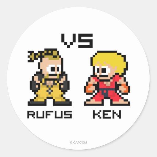 8bit Rufus CONTRA Ken Pegatinas Redondas