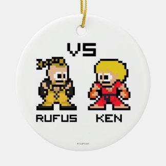 8bit Rufus VS Ken Ceramic Ornament