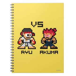 8bit Ryu CONTRA Akuma Cuadernos