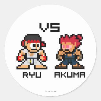 8bit Ryu CONTRA Akuma Pegatina Redonda