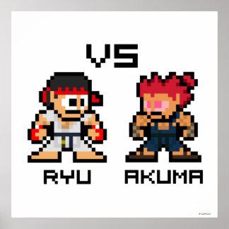 8bit Ryu CONTRA Akuma Poster