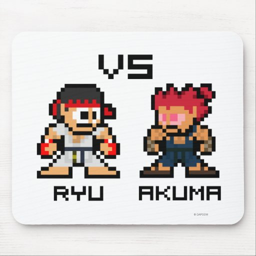 8bit Ryu CONTRA Akuma Tapetes De Ratón
