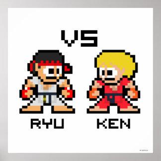8bit Ryu CONTRA Ken Poster