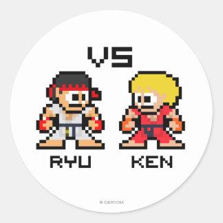 8bit Ryu CONTRA Ken Pegatina Redonda