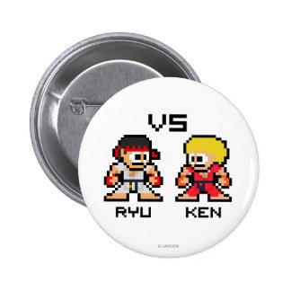 8bit Ryu CONTRA Ken Pin Redondo De 2 Pulgadas