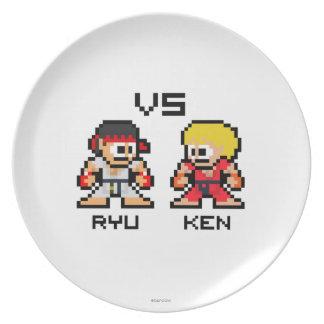 8bit Ryu CONTRA Ken Plato De Cena