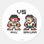 8bit Ryu CONTRA Sakura Pegatina Redonda