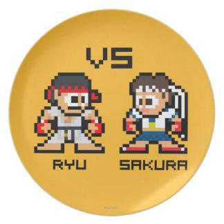 8bit Ryu CONTRA Sakura Platos De Comidas