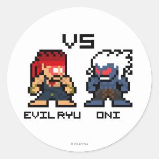 8bit Ryu malvado CONTRA Oni Etiqueta Redonda