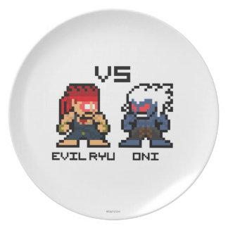 8bit Ryu malvado CONTRA Oni Platos De Comidas