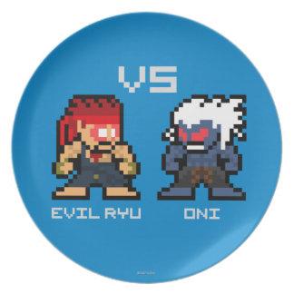 8bit Ryu malvado CONTRA Oni Platos