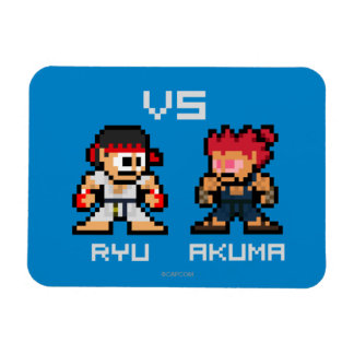 8bit Ryu VS Akuma Rectangle Magnet