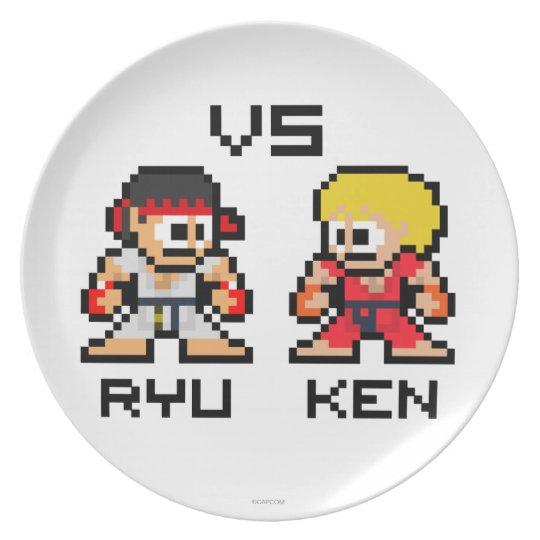 8bit Ryu VS Ken Melamine Plate